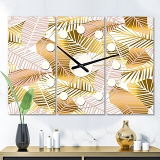 Designart 'Golden Palm Leaves II' Oversized Mid-Century wall clock - 3 Panels - 36 in. wide x 28 in. high - 3 Panels