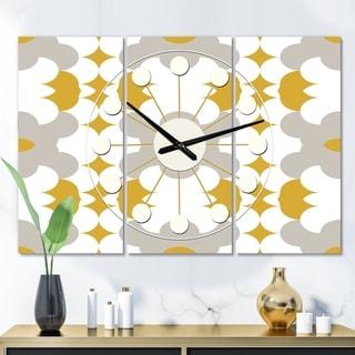 Designart 'Retro Abstract Design XVIII' Oversized Mid-Century wall clock - 3 Panels - 36 in. wide x 28 in. high - 3 Panels