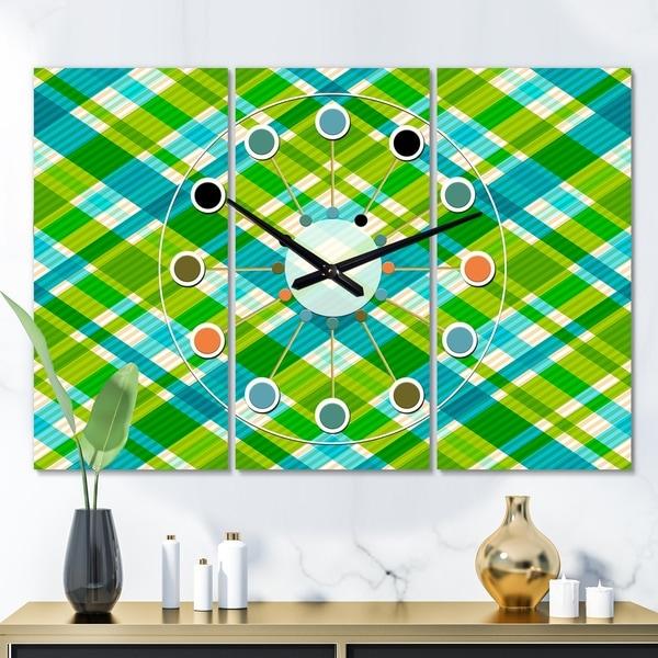 Designart 'Tartan Geometrical Texture II' Oversized Mid-Century wall clock - 3 Panels - 36 in. wide x 28 in. high - 3 Panels