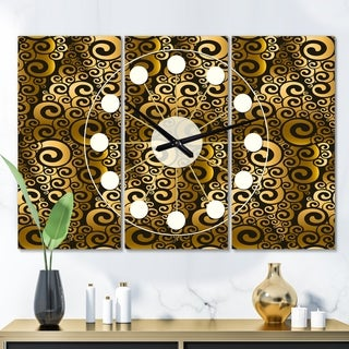 Designart 'Gold and Black Swirl I' Oversized Mid-Century wall clock - 3 Panels - 36 in. wide x 28 in. high - 3 Panels
