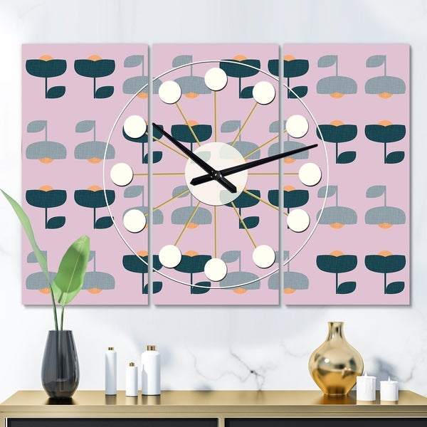 Designart 'Retro Floral Pattern XIII' Oversized Mid-Century wall clock - 3 Panels - 36 in. wide x 28 in. high - 3 Panels