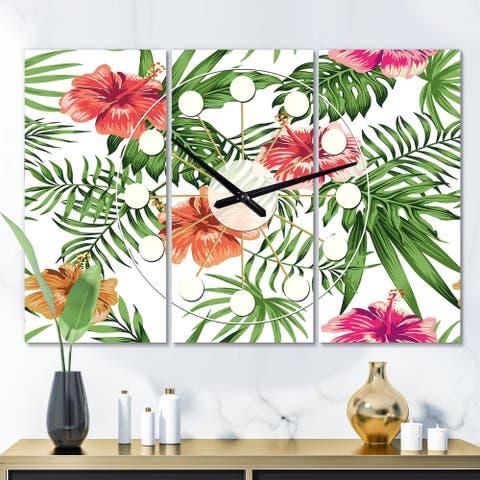 Designart 'Tropical Botanicals and Flowers II' Oversized Mid-Century wall clock - 3 Panels