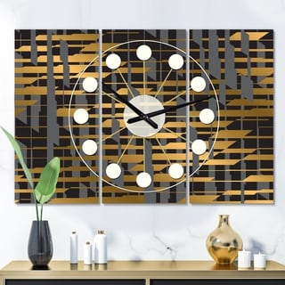 Designart 'Gold Checkered Pattern I' Oversized Mid-Century wall clock - 3 Panels - 36 in. wide x 28 in. high - 3 Panels