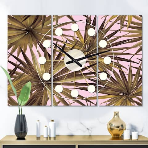 Designart 'Tropical Leaves On Pink' Oversized Mid-Century wall clock - 3 Panels - 36 in. wide x 28 in. high - 3 Panels