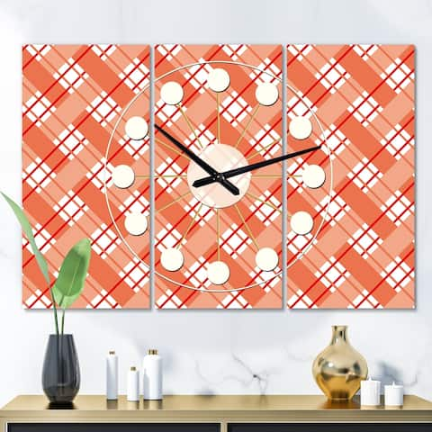 Designart 'Retro Checkered Pattern I' Oversized Mid-Century wall clock - 3 Panels - 36 in. wide x 28 in. high - 3 Panels