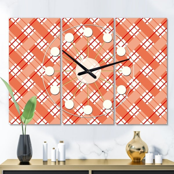 Designart 'Retro Checkered Pattern I' Oversized Mid-Century wall clock - 3 Panels - 36 in. wide x 28 in. high - 3 Panels. Opens flyout.
