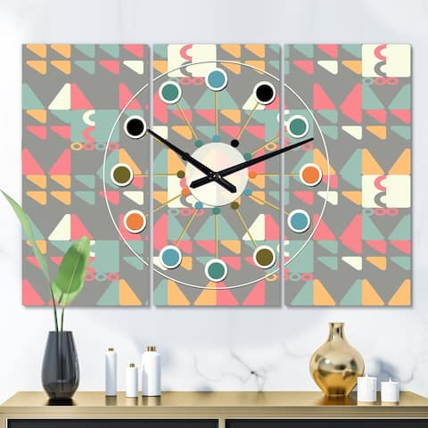 Designart 'Retro Abstract Design V' Oversized Mid-Century wall clock - 3 Panels - 36 in. wide x 28 in. high - 3 Panels