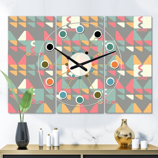 Designart 'Retro Abstract Design V' Oversized Mid-Century wall clock - 3 Panels - 36 in. wide x 28 in. high - 3 Panels. Opens flyout.
