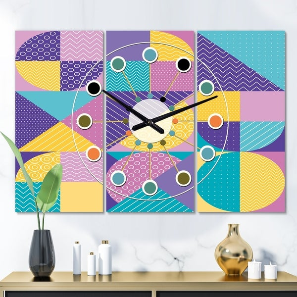 Designart 'Geometrical Pastel Abstract I' Oversized Mid-Century wall clock - 3 Panels - 36 in. wide x 28 in. high - 3 Panels