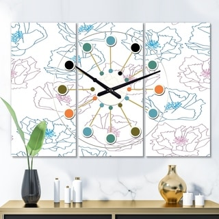 Designart 'Retro Handdrawn Poppies I' Oversized Mid-Century wall clock - 3 Panels - 36 in. wide x 28 in. high - 3 Panels