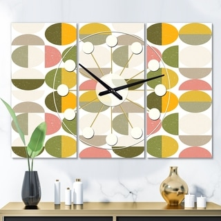 Designart 'Vintage Circular Design I' Oversized Mid-Century wall clock - 3 Panels - 36 in. wide x 28 in. high - 3 Panels