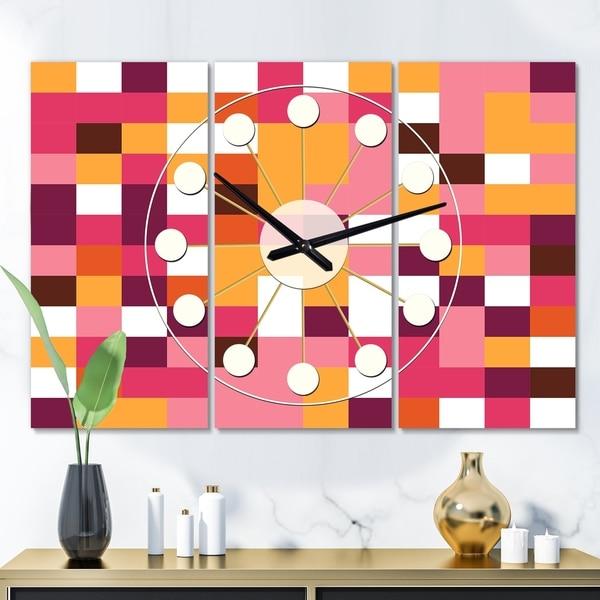 Designart 'Retro Geometric Design VII' Oversized Mid-Century wall clock - 3 Panels - 36 in. wide x 28 in. high - 3 Panels