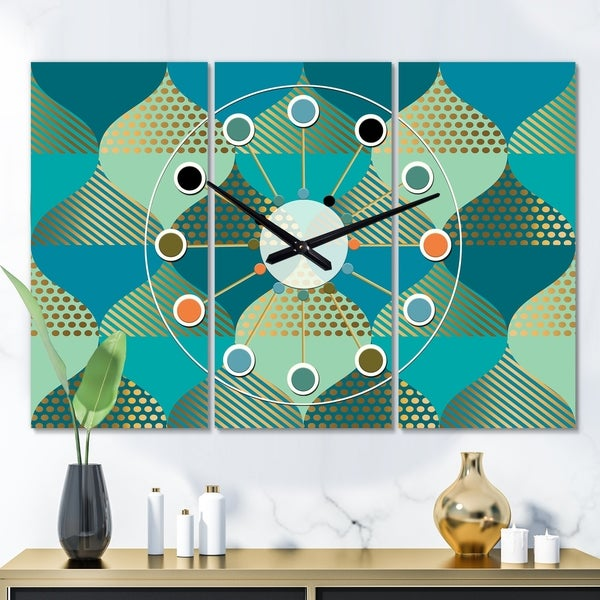 Designart 'Luxury Retro Drops I' Oversized Mid-Century wall clock - 3 Panels - 36 in. wide x 28 in. high - 3 Panels