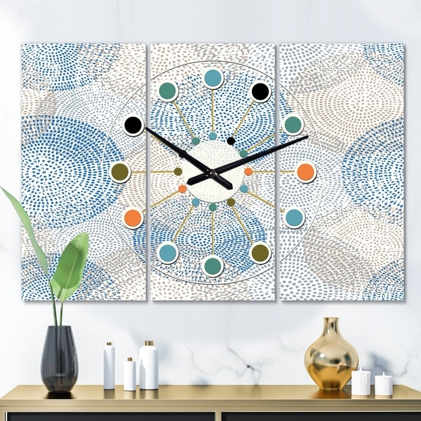 Designart 'Abstract Retro Design I' Oversized Mid-Century wall clock - 3 Panels - 36 in. wide x 28 in. high - 3 Panels