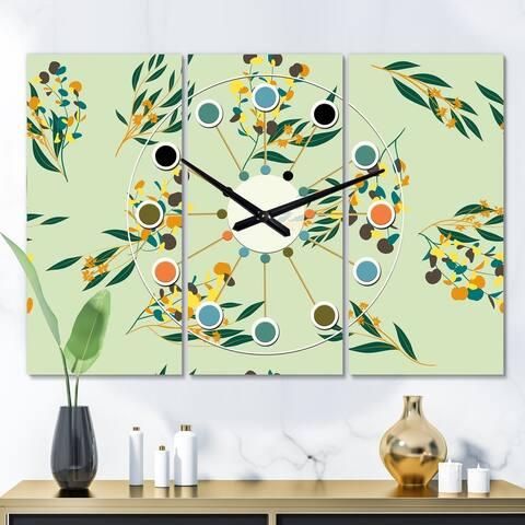 Designart 'Bright Eucalyptus Floral Pattern III' Oversized Mid-Century wall clock - 3 Panels