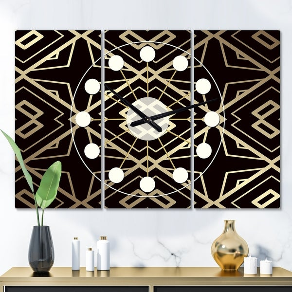 Designart 'Gold and Black Art Deco Pattern' Oversized Mid-Century wall clock - 3 Panels - 36 in. wide x 28 in. high - 3 Panels