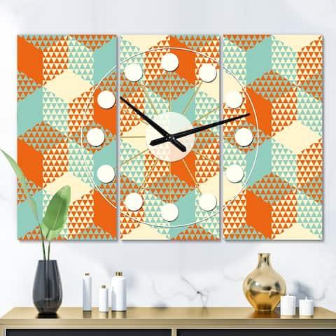 Designart 'Retro Hexagon Pattern VIII' Oversized Mid-Century wall clock - 3 Panels - 36 in. wide x 28 in. high - 3 Panels