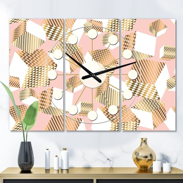 Designart 'Gold and Rose Cubes I' Oversized Mid-Century wall clock - 3 Panels - 36 in. wide x 28 in. high - 3 Panels