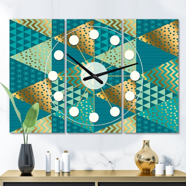 Designart 'Gold and Blue Dynamics I' Oversized Mid-Century wall clock - 3 Panels - 36 in. wide x 28 in. high - 3 Panels