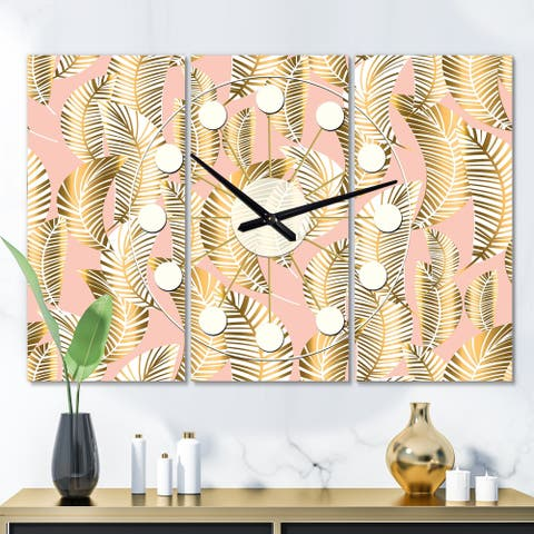 Designart 'Golden Palm Leaves I' Oversized Mid-Century wall clock - 3 Panels - 36 in. wide x 28 in. high - 3 Panels