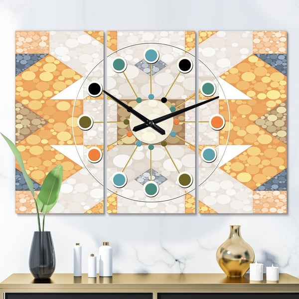Designart 'Geometric Retro Design I' Oversized Mid-Century wall clock - 3 Panels - 36 in. wide x 28 in. high - 3 Panels