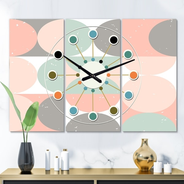 Designart 'Retro Pastel Circular Pattern II' Oversized Mid-Century wall clock - 3 Panels - 36 in. wide x 28 in. high - 3 Panels