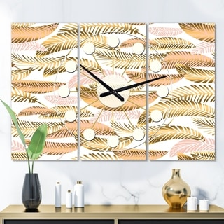Designart 'Golden Tropical Pattern III' Oversized Mid-Century wall clock - 3 Panels - 36 in. wide x 28 in. high - 3 Panels