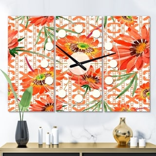 Designart 'Floral Botanical Retro I' Oversized Mid-Century wall clock - 3 Panels - 36 in. wide x 28 in. high - 3 Panels