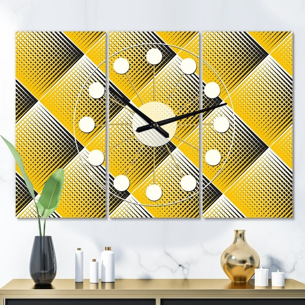 Designart 'Rhombus Retro Geometric ' Oversized Mid-Century wall clock - 3 Panels - 36 in. wide x 28 in. high - 3 Panels