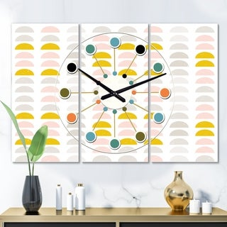 Designart 'Retro Pastel Circular Pattern III' Oversized Mid-Century wall clock - 3 Panels - 36 in. wide x 28 in. high - 3 Panels