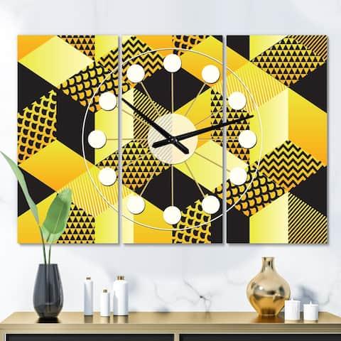 Designart 'Retro Hexagon Pattern II' Oversized Mid-Century wall clock - 3 Panels - 36 in. wide x 28 in. high - 3 Panels