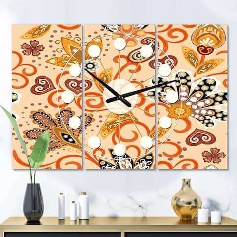 Designart 'Retro Indian Floral Batik III' Oversized Mid-Century wall clock - 3 Panels - 36 in. wide x 28 in. high - 3 Panels