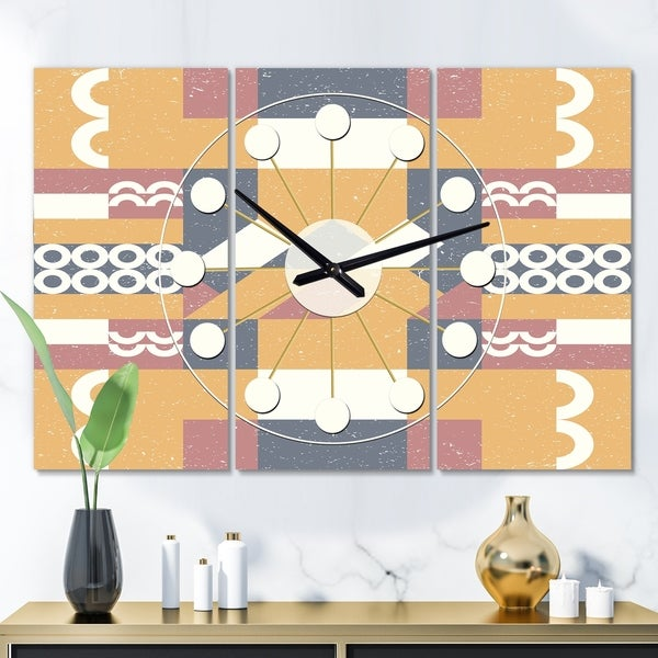 Designart 'Retro Geometric Design VI' Oversized Mid-Century wall clock - 3 Panels - 36 in. wide x 28 in. high - 3 Panels. Opens flyout.