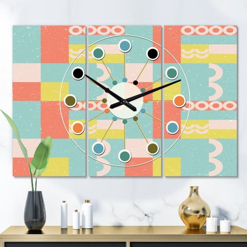 Designart 'Retro Abstract Design III' Oversized Mid-Century wall clock - 3 Panels - 36 in. wide x 28 in. high - 3 Panels