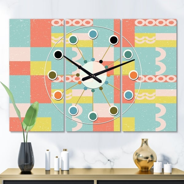 Designart 'Retro Abstract Design III' Oversized Mid-Century wall clock - 3 Panels - 36 in. wide x 28 in. high - 3 Panels. Opens flyout.