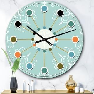 Designart 'Turquoise Minimal Ornament' Mid-Century wall clock