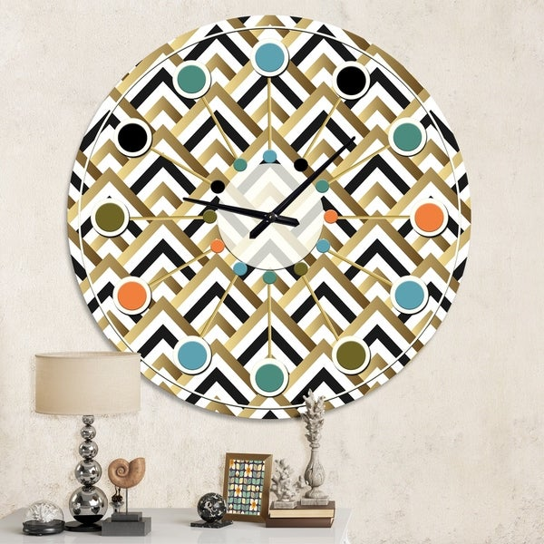 Designart 'Gold black and white triangle' Mid-Century wall clock