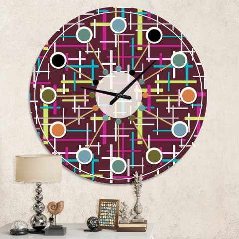 Designart 'Retro Abstract Design XVII' Mid-Century wall clock