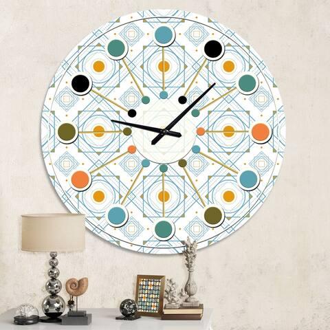 Designart 'Retro Minimal Patttern in Orange and Bluye' Mid-Century wall clock
