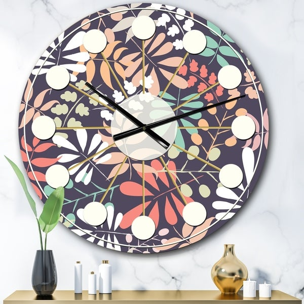 Designart 'Retro Botanical Pattern II' Mid-Century wall clock
