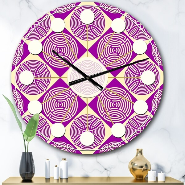 Designart 'Retro Abstract Pattern Design I' Mid-Century wall clock