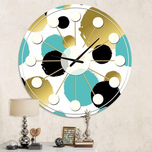 Designart 'Gold and Blue Circles ' Mid-Century wall clock