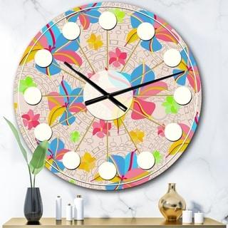 Designart 'Retro Pink Yellow Flowers' Mid-Century wall clock