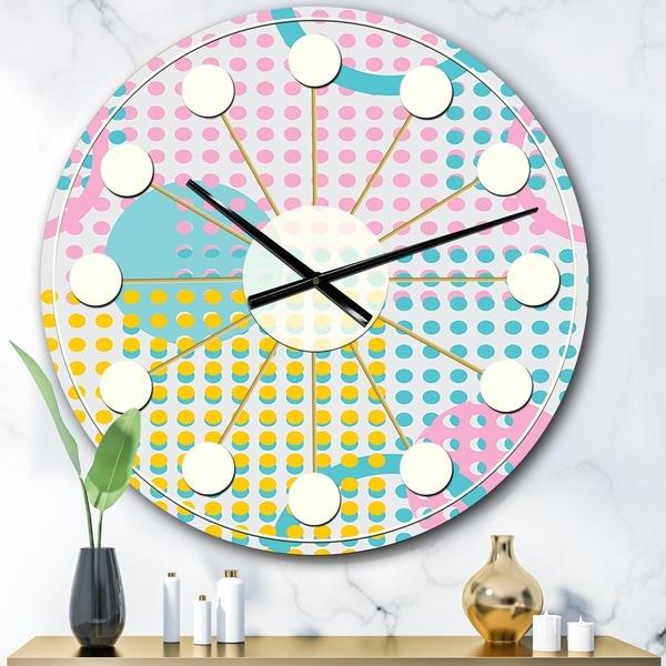 Designart 'Circular Retro Geometry I ' Mid-Century wall clock