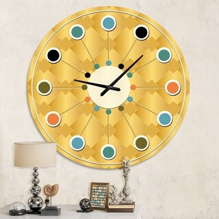 Designart 'Golden Geometric I' Mid-Century wall clock