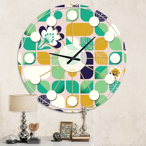 Designart 'geometric pattern with leaves and flowers' Mid-Century wall clock