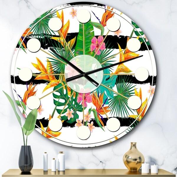 Designart 'Retro Tropical Leaves II' Mid-Century wall clock