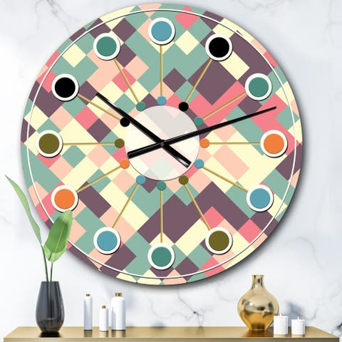 Designart 'Retro Square Design IV' Mid-Century wall clock