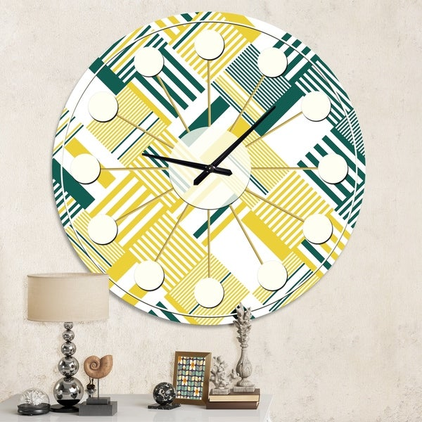 Designart 'Abstract Diagonal Stripe Pattern' Mid-Century wall clock