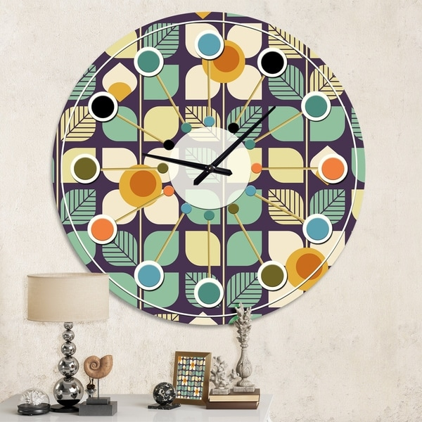 Designart 'Botanical Retro Design III' Mid-Century wall clock